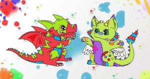 Paint Fight by JamKitsune