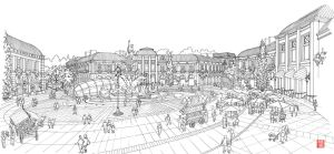 Central Plaza sketch by Manu05