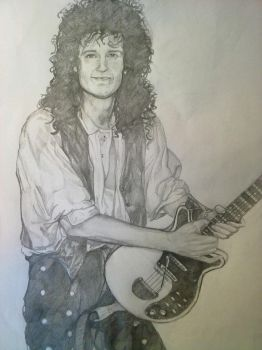 Brian May in Black and white by DrawnByYou