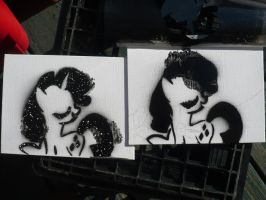Rarity Stencil Experiment by sparklepeep