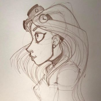 Steampunk Goggle Girl Sketch 7 by Pencilbags