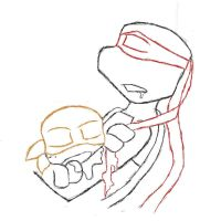 Raph and Little Mikey by ShellWatcher