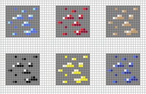 Minecraft ores pixel art grid by Hama-Girl