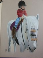 Sur mon cheval blanc(pastel) by PascalePerrot