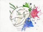 World's Watercolor Month - Day 13 : Skull by Hikasawr