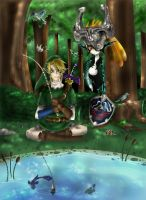 Link and Midna - Fishing by TheHummingInker