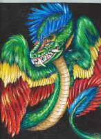Quetzalcoatl Painted Sketchbook by AmberHallows