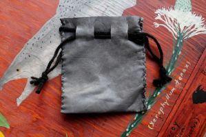 Gray Leather Pouch by lupagreenwolf