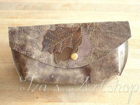 Autumn Leaves Small Leather Pouch by izasartshop