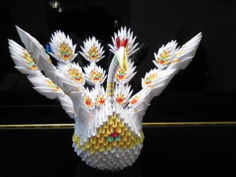 3D Origami Stick Feathered Peacock by Nightmareswithin