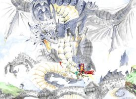 Dragon versus Norman knight by emalterre