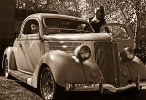 Girl and Classic Ford by texasghost