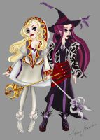 White Mage Apple White and Black Mage Raven Queen by The-Doll-In-Chains