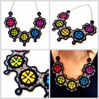 Crocheted colorful buttons necklace by Sefi