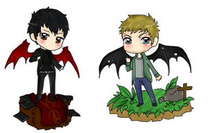 +-+Chibi Crowley and Lucifer+-+ by ShadowDark1