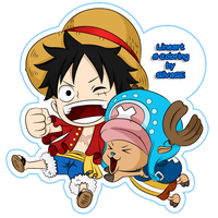 Chibi Luffy and Chopper by SilvaSE
