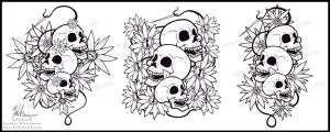 Skull and Daisy Time by helloheath