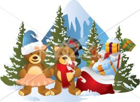 Teddy bears with trees and gift box by brish08