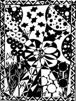 Flower Shapes in Black-White by BlueYuni-chan