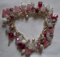pink and white bracelet by MadDani