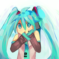 Scared little Miku by colossalphunk