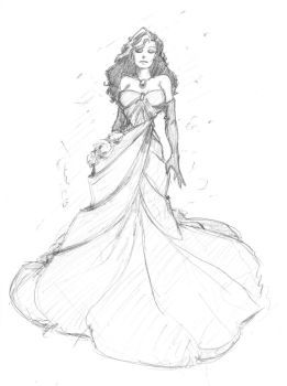 0222 daily doll - woman in gown by JohnRose-Illustrator