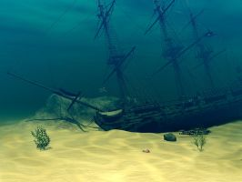 Sunken Ship, without dolphins by Moonchilde-Stock