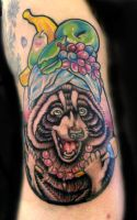 Racoon in a fruithat with maraccas tattoo by thirteen7s