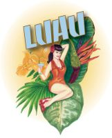 Luau invitation, pinup girl by kathompson