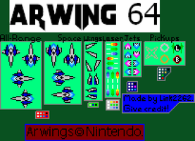 Arwing 64 Sprites RESIZED by Link2262