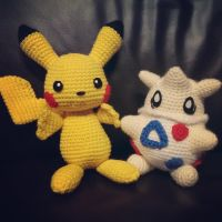 Pikachu and Togepi Crochet by SirPurlGrey