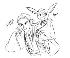 Young Dooku and Yoda by boxOFjuice
