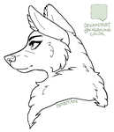 Maned Fem Wolf MSPaint Friendly Lineart by Birritan