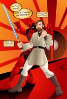 Obi-Wan encounters Deadpool by YulayDevlet