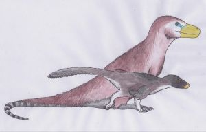 Aquarel pencil theropods by Dontknowwhattodraw94