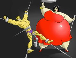 Miss Blimpetta tortures Power Dude by FatClubInc