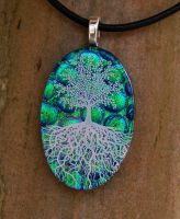 Emerald Sky Tree of Life Glass by FusedElegance