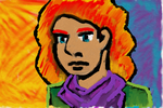 Red Head Lady in Green with purple by Poorartman