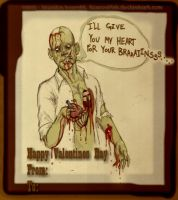 Zombie Valentine Card. by RoscoeFink