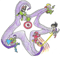 JLA vs Starro by Mbecks14
