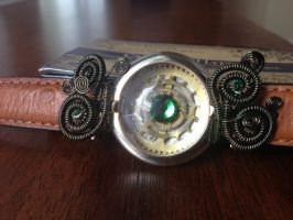 Steampunk Modified Watch Bracelet(Obscene Green) by CrossTheHatter