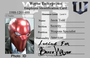 Wayne Enterprises ID Card - Red Hood by statenjp