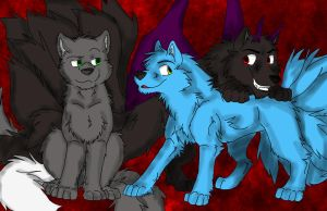 Art Trade - Kassin, Frost and Sonton by Firewolf-Anime