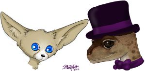 The Blue Eyed Fox and the Dapper Gecko by Myrcury-Art