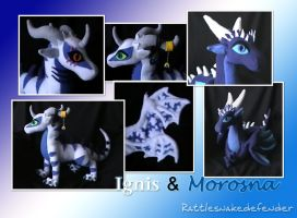 Ignis and Morosna Plushies WIP by DragonCid