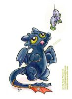 Toothless with Fish by artyewok