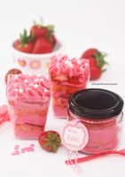 Strawberry Shortcake in a cup or in a jar to go by theresahelmer