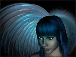 Angel out of the Blue by FractalBee