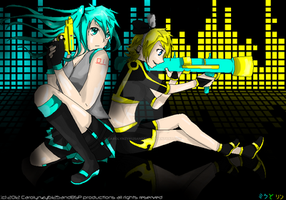 Simple line epic detail: Miku and Rin by Carolynzy6125andBSP