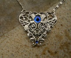 Glow Blue Silver Steampunk Heart by LadyPirotessa